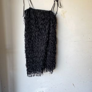 zara black mini sequin tassle dress